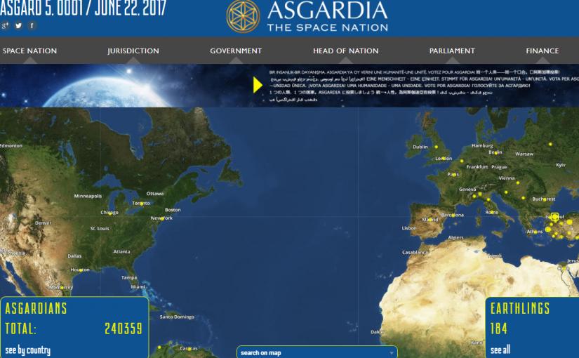 宇宙国家アスガルディアの国民になった。